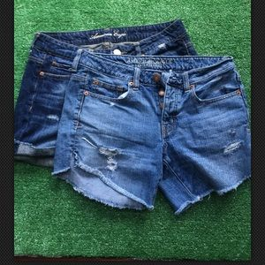 2 pair American Eagle Sz 4 distressed jean shorts